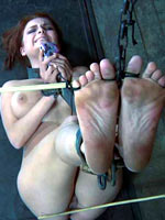 Redheaded explicit shackled