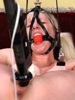 Blonde Riley tied and spread tight