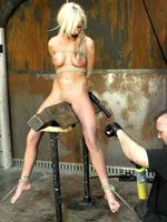 Blonde on wooden horse