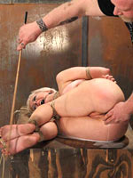 Rubicund milk enema in bondage