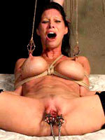 Busty bitch in bondage