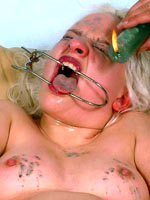 Blonde gets wax play