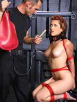 Enema for tied subgirl