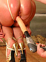 Drilling the pussy of blonde slave