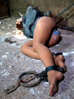 Girl in a straitjacket tortured hard