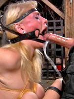 Blonde fucked by fucking machine