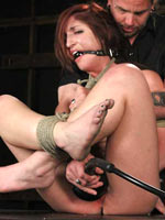 Bound gagged and whipped girl